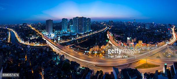 Panoramic view of roads, a quarter, bridge, Hanoi, Vietnam