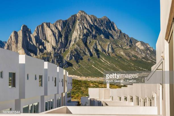 panoramic view of rocky mountains against clear blue sky - monterrey stock pictures, royalty-free photos & images
