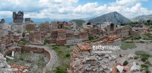 panoramic view of roman baths in sagalassos , burdur province. - emreturanphoto stock pictures, royalty-free photos & images