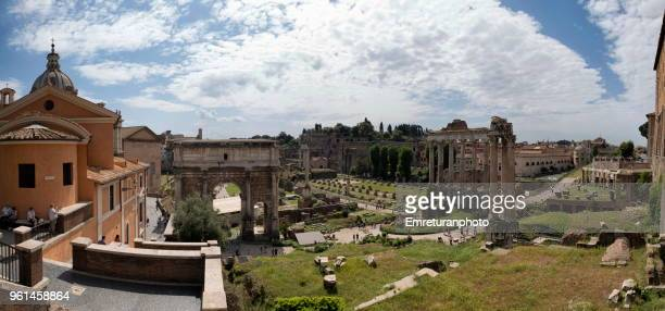 panoramic view of rome forum on a sunny spring day. - emreturanphoto stock pictures, royalty-free photos & images