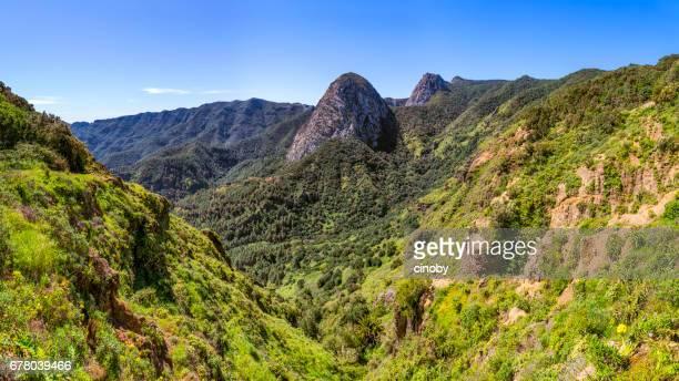 """vista panorámica de roque de ojila (grupo de enchufes volcánicos de """"los roques"""") en el parque nacional de garajonay en canarias la gomera - españa - flanco de valle fotografías e imágenes de stock"""