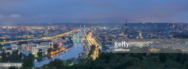 panoramic view of rouen city during the blue hour - rouen stock pictures, royalty-free photos & images