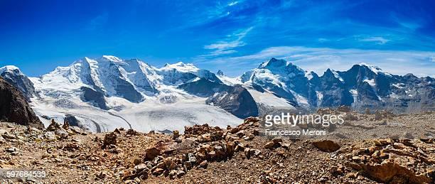 Panoramic view of rugged snow covered mountains, Diavolezza, Switzerland