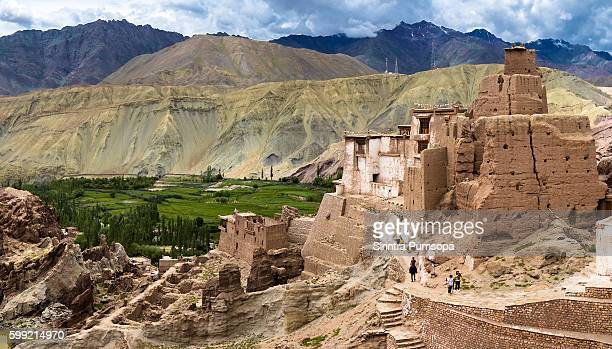 Panoramic view of ruins and Basgo Monastery surrounded with stones and rocks , Leh, Ladakh, Jammu and Kashmir, India