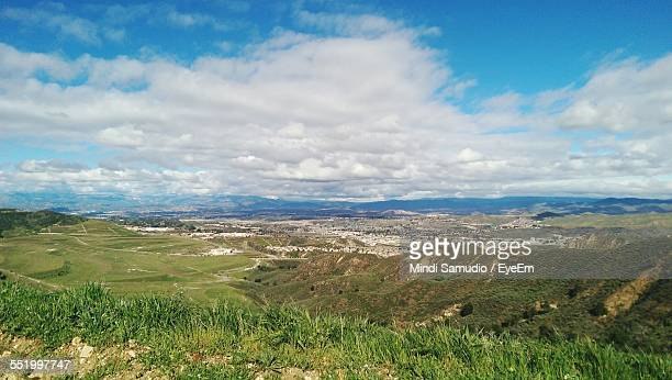panoramic view of rural landscape - santa clarita stock photos and pictures