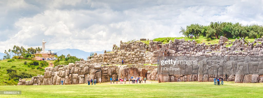 Panoramic view of Sacsayhuaman ruins (fortress), Cuzco, Peru. : ストックフォト