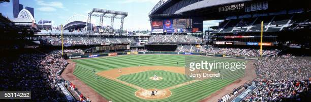 Panoramic view of Safeco Field from behind home plate during a game between the Los Angeles Angels of Anaheim and the Seattle Mariners on May 4 2005...