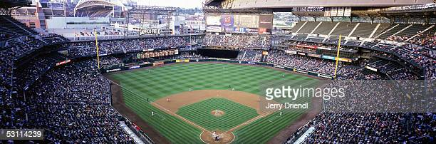 Panoramic view of Safeco Field from home plate upper deck level during a game between the Los Angeles Angels of Anaheim and the Seattle Mariners on...
