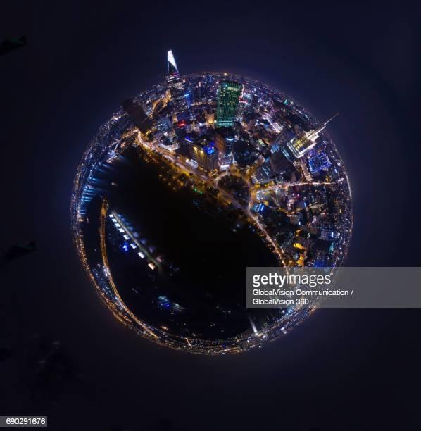 360° panoramic view of saigon at night, vietnam - hdri 360 ストックフォトと画像