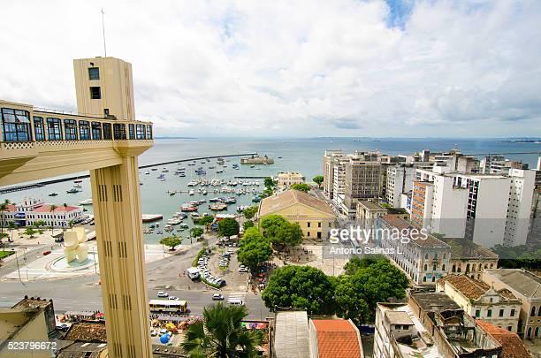 Panoramic view of Salvador de Bah��a. Mercado Modelo and Lacerda Elevator