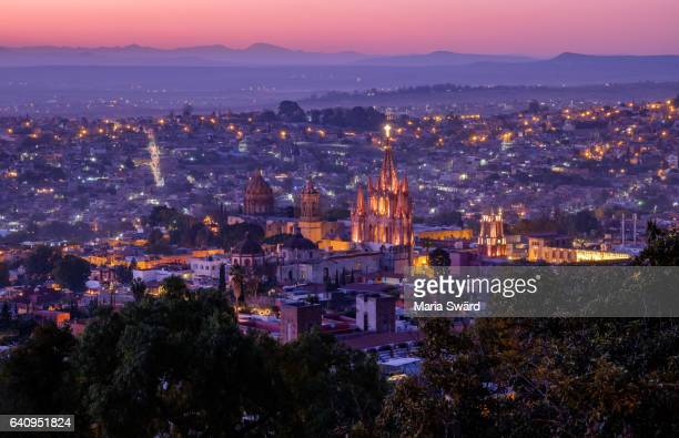 Panoramic view of San Miguel de Allende (with La Parroquia Church), Guanajuato, Mexico (Unesco world heritage site)