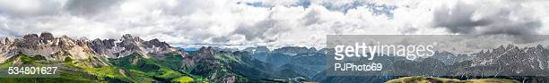 panoramic view of san pellegrino pass (dolomites) - pjphoto69 stock pictures, royalty-free photos & images