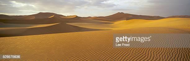 Panoramic view of sand dunes in sand sea, Sossusvlei, Namib Naukluft Park, Namibia, Africa