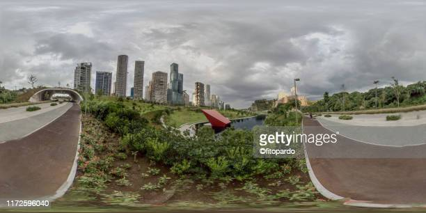 360° panoramic view of santa fe mexico city - mexico city skyline stock pictures, royalty-free photos & images