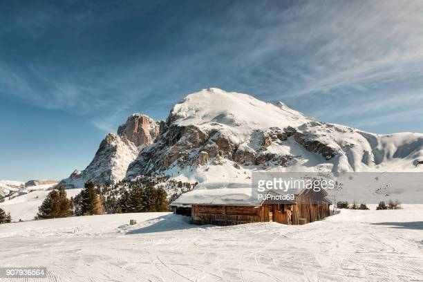 panoramic view of sasso lungo and sasso piatto - shack stock pictures, royalty-free photos & images