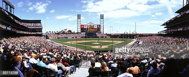 Panoramic view of SBC Park from behind home plate lower level during a game between the Washington Nationals and the San Francisco Giants on May 7...
