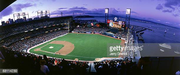 Panoramic view of SBC Park from the right field upper level at sunset with the San Francisco bay in the background during a game between the...