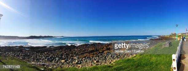 panoramic view of sea against clear blue sky - east london stock pictures, royalty-free photos & images