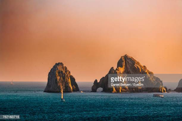 panoramic view of sea against clear sky - cabo san lucas stock pictures, royalty-free photos & images