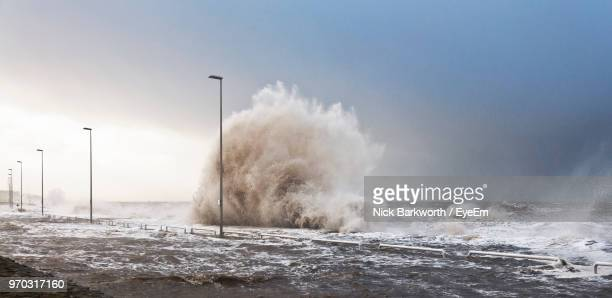 panoramic view of sea against clear sky - flooding stock photos and pictures