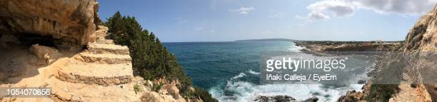 panoramic view of sea against sky - iñaki mt stock photos and pictures