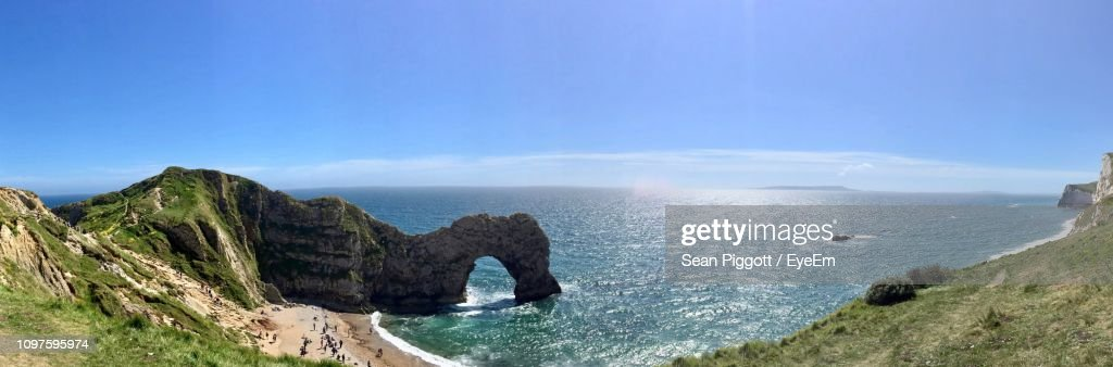 Panoramic View Of Sea Against Sky : Stock Photo