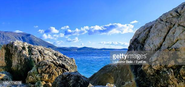 panoramic view of sea against sky - ljubomir belic stock pictures, royalty-free photos & images