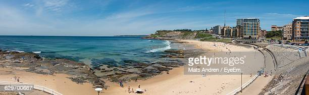 panoramic view of sea against sky - newcastle new south wales stock pictures, royalty-free photos & images