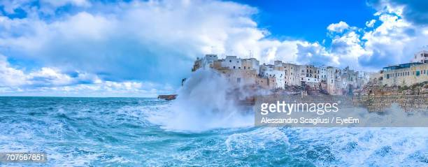 panoramic view of sea against sky - bari stock photos and pictures
