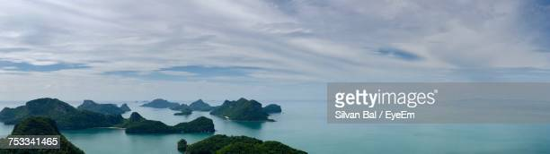 panoramic view of sea against sky - ko samui stock photos and pictures