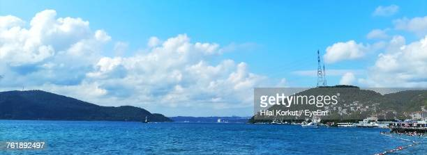 panoramic view of sea against sky - hilal stock photos and pictures