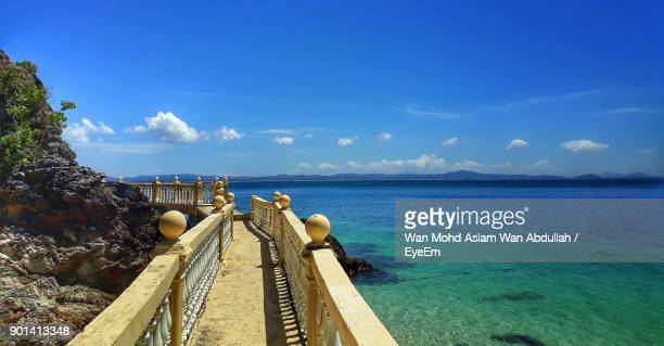 panoramic view of sea against sky - terengganu stock pictures, royalty-free photos & images