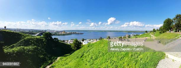panoramic view of sea against sky - nizhny novgorod oblast stock photos and pictures