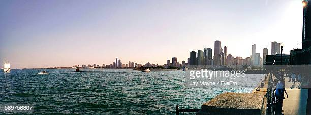 Panoramic View Of Sea And City Against Clear Sky