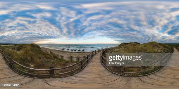 360° panoramic view of sea at sunset - ostuni stock photos and pictures