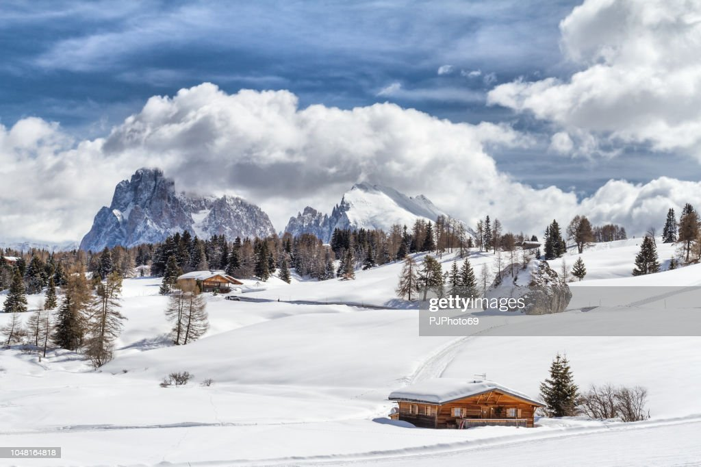 Panoramic view of Seiser Alm with Langkofel mountain in background and a wooden chalet in foreground : Foto stock