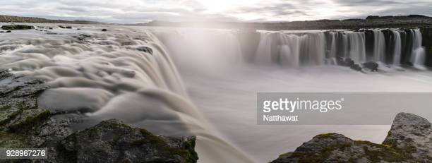 panoramic view of selfoss waterfall in northern iceland. - selfoss stock photos and pictures