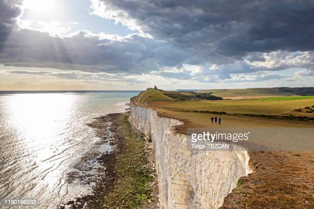 panoramic view of seven sisters cliffs - eastbourne stock pictures, royalty-free photos & images