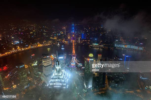 panoramic view of Shanghai at cloudy night