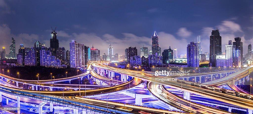 Panoramic View of Shanghai at Night : Stock Photo