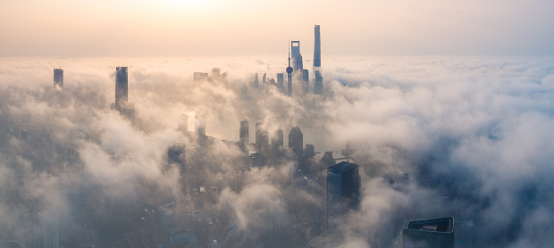 panoramic view of Shanghai city over the advection fog at sunrise - gettyimageskorea