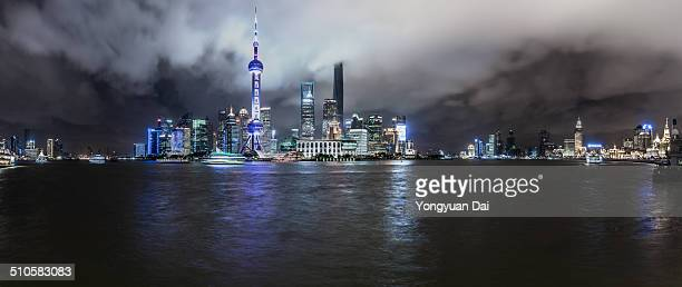 Panoramic view of Shanghai skyline at the Bund at night