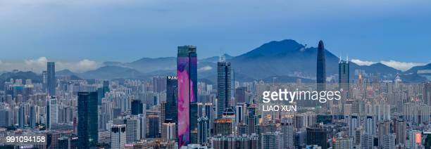 Panoramic view of Shenzhen skyscrapers at dawn