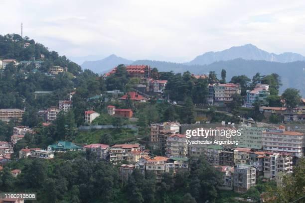 panoramic view of shimla hills, india - argenberg imagens e fotografias de stock
