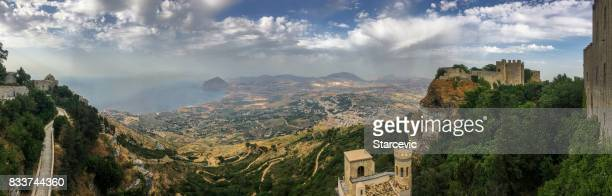 panoramic view of sicilian landscape - catania stock photos and pictures