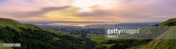 panoramic view of silicon valley at sunset - fremont california stock pictures, royalty-free photos & images