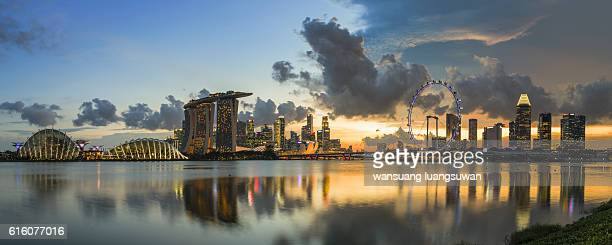 panoramic view of singapore city skyline - singapore flyer stock photos and pictures