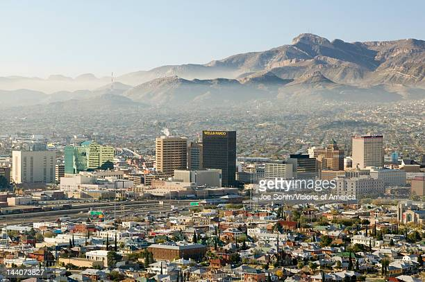 Panoramic view of skyline and downtown El Paso Texas looking toward Juarez Mexico