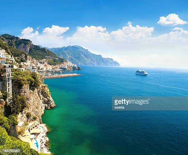 panoramic view of small town and the sea - mediterranean sea stock pictures, royalty-free photos & images