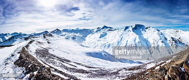 Panoramic view of snow covered mountains, Livigno, Italian Alps, Italy